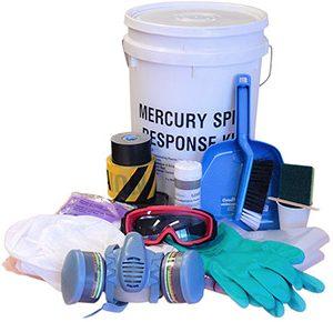 Mercury spill kit with Mercsorb amalgamation powder